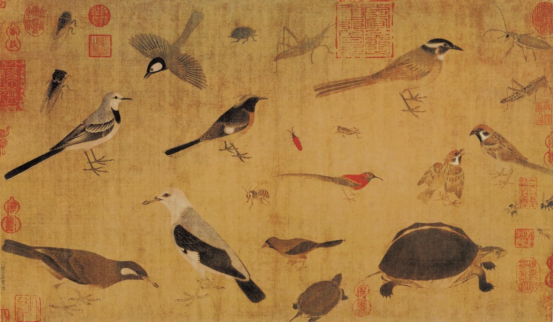 五代 黄筌 珍禽图 绢本设色 41.5×70公分 故宫博物院藏