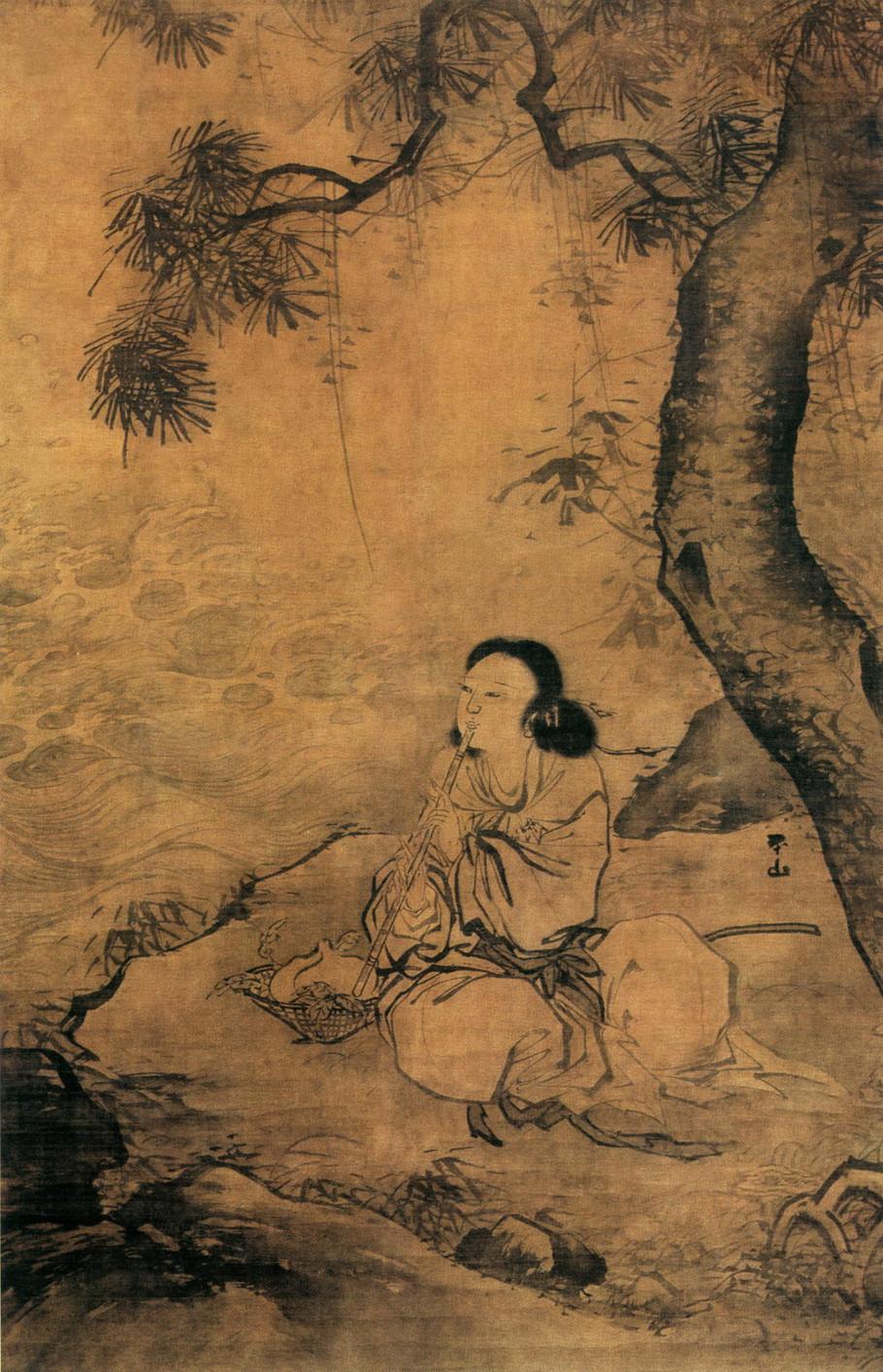 明 张路 吹箫女仙图 绢本墨笔 141.3×91.8厘米 北京故宫博物院藏