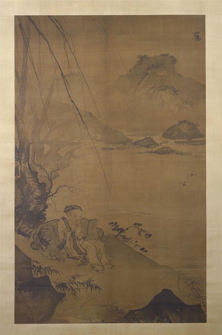 明 吴伟 树下读书图轴 绢本设色168×105cm 故宫博物院藏