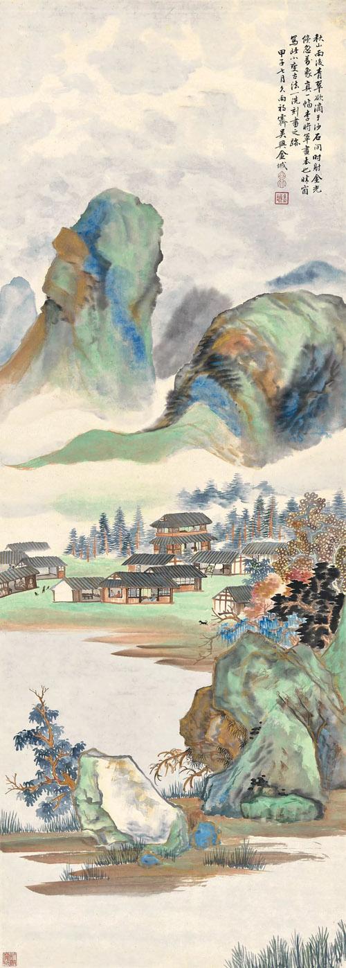 金城 《秋山雨后》 1924年 118cm×42cm 纸本设色 中国美术馆藏 缩图