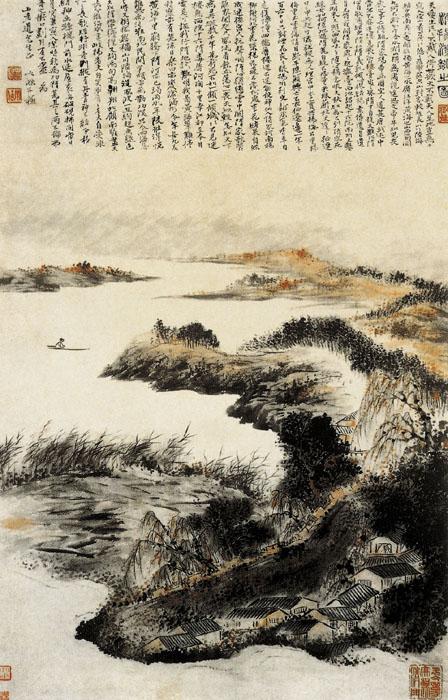 清 石涛 淮扬洁秋图 纸本设色 纵89厘米 横57厘米 南京博物馆藏