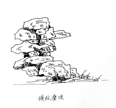 石涛叠石主要是横纹叠法