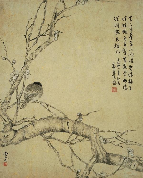 陈之佛创作于1941年的《寒梅宿雀》轴(南京博物院藏)