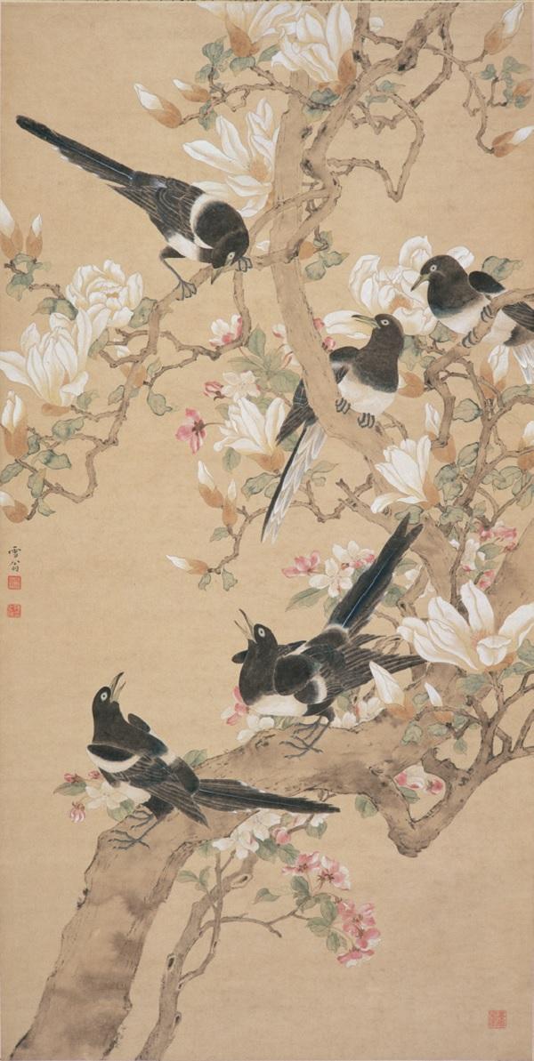 陈之佛创作于1955年的《春朝鸣喜》(南京博物院)