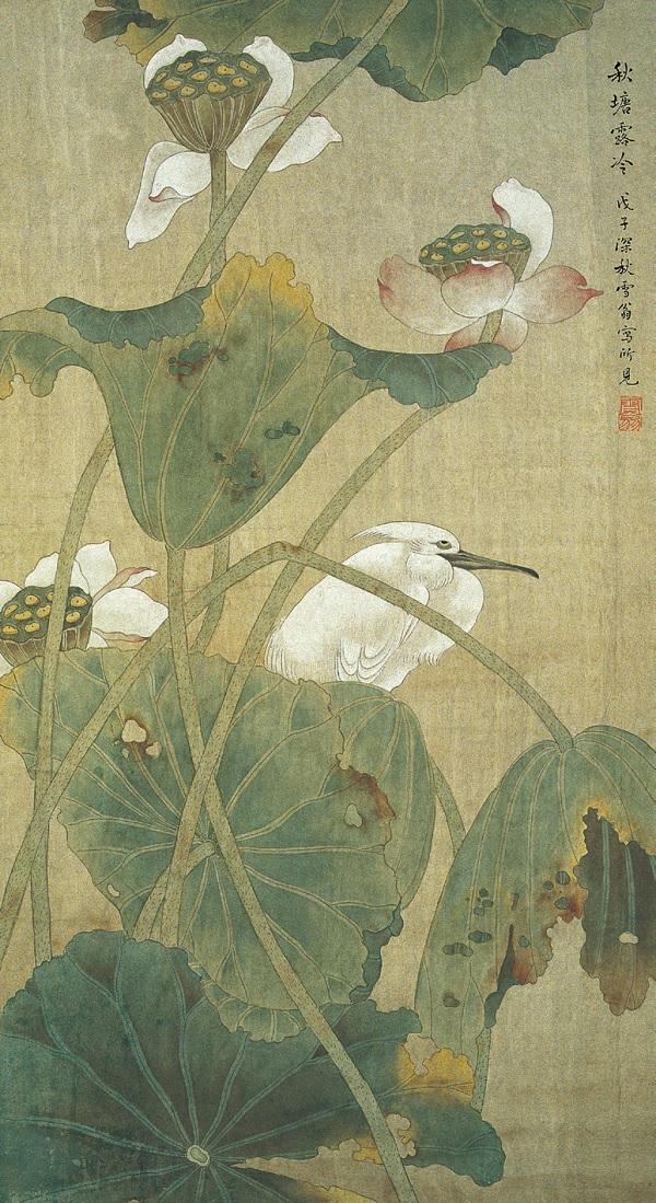 陈之佛创作于1948年《秋塘露冷》轴(南京博物院藏)