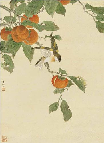 陈之佛作品《红柿小鸟》53cm×39cm 1953 年