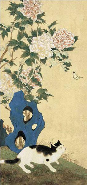 陈之佛作品《文猫饲蝶》 112cm×52cm 1952 年