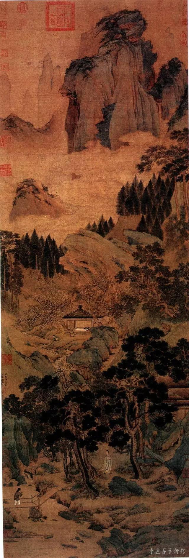 [明] 仇英 桃村草堂图 绢本设色 纵150厘米 横53厘米 北京故宫博物院藏