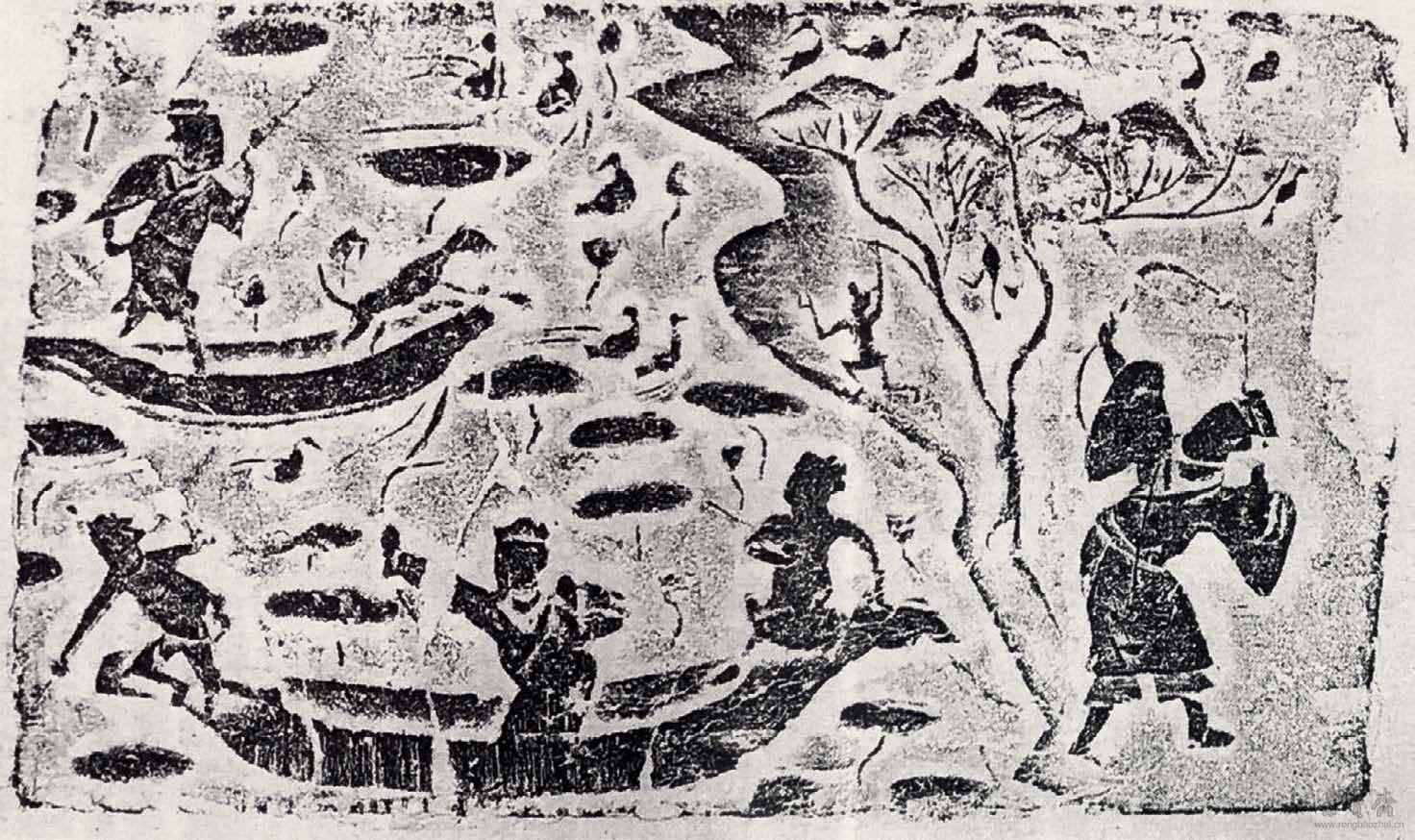 荷塘渔猎画像砖
