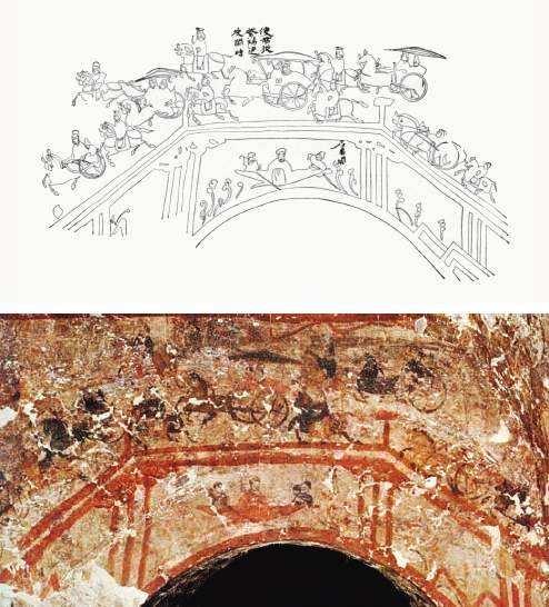 """内蒙古和林格尔东汉壁画墓""""使君从繁阳迁度关时""""壁画及摹本"""