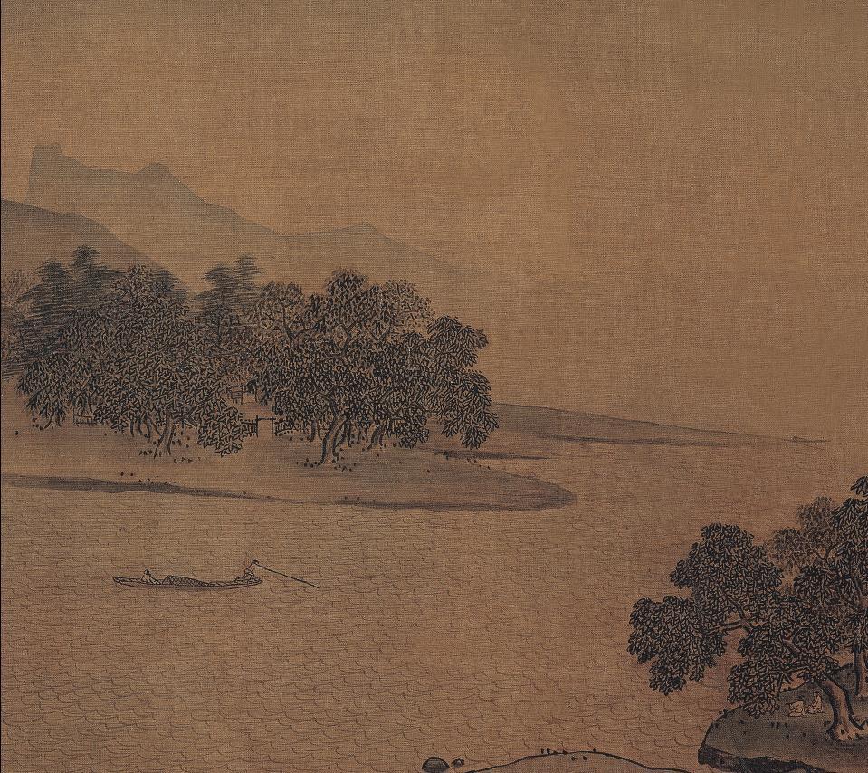宋 佚名 江村图 绢本 23.4×23.9cm 上博