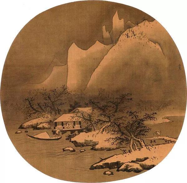 李东《雪江卖鱼图》绢本墨笔 23.6×25.2cm 故宫博物院藏