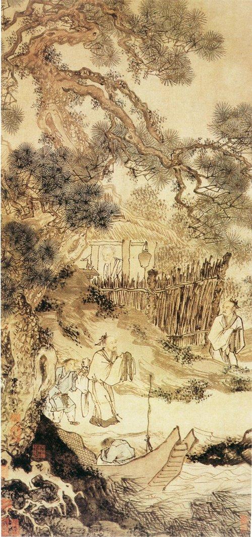 明 周臣《柴门送客图》 轴,纸本设色,纵121厘米,横57厘米。南京博物院藏。