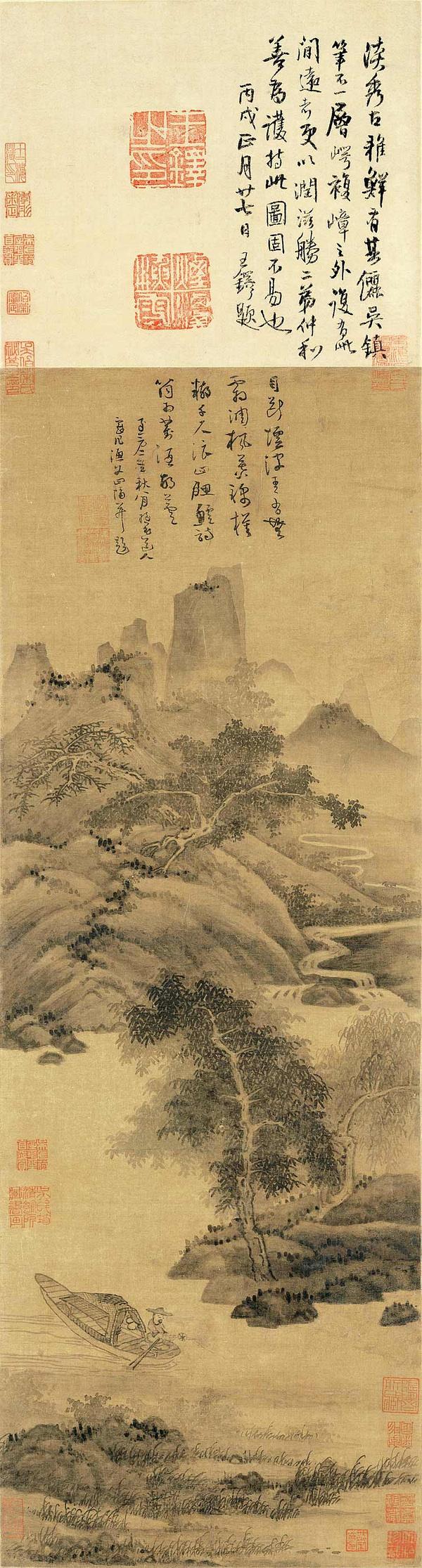 元 吴镇 渔父图轴 绢本墨笔 84.7×29.7cm 北京故宫博物院藏