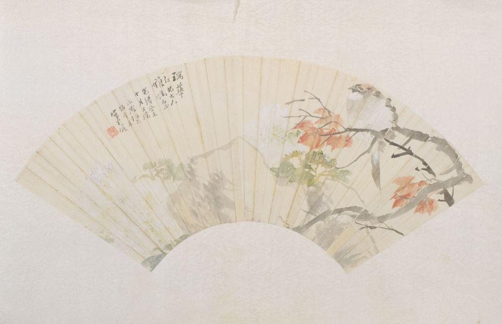任颐《花鸟图》扇页 纸本设色 纵17.8cm 横50.8cm 北京故宫博物院藏