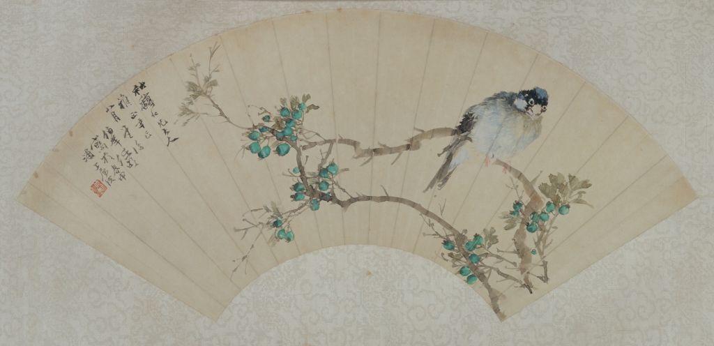 任颐《花鸟图》扇页 纸本设色 纵18.2cm 横53.3cm 北京故宫博物院藏