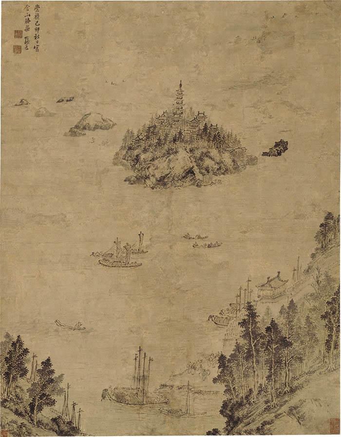 张宏《金山胜概图》 124×97cm 南京博物院藏