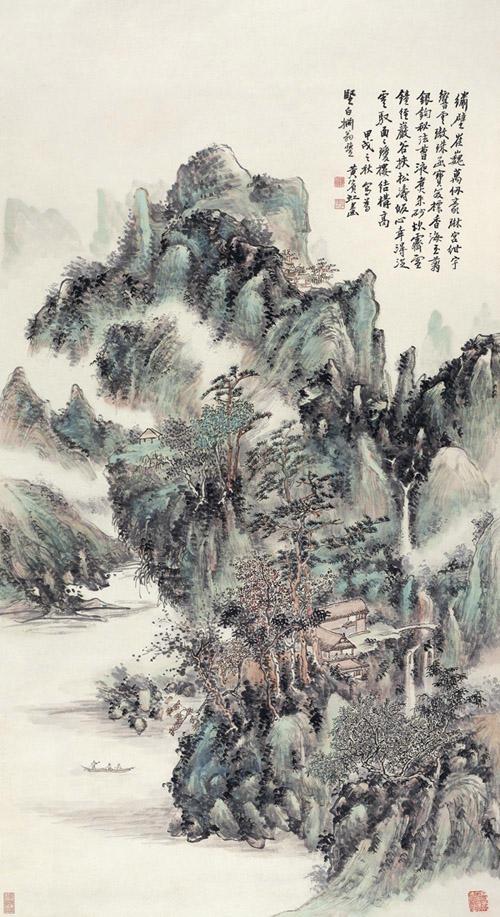 黄宾虹 春山积翠图 1934年作 设色纸本 142×77cm 匡时2010春拍 成交价672万元 缩图