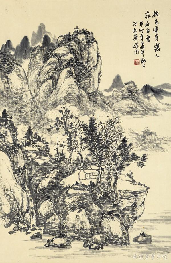 A20149 郭保同 树色连青霭 69×45cm 水墨纸本卷轴 缩图