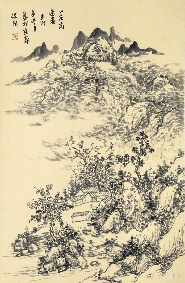 A20154 郭保同 山庄高逸图 69×45cm 水墨纸本卷轴 缩图