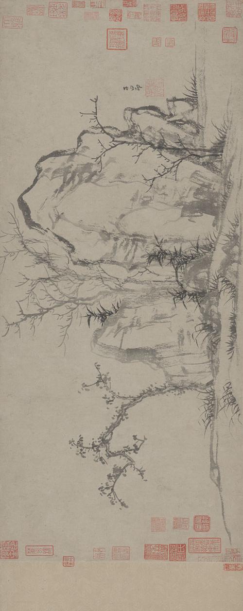 赵孟頫 秀石疏林图卷 纸本墨笔 27.5×62.8cm 故宫博物院藏 2 旋转