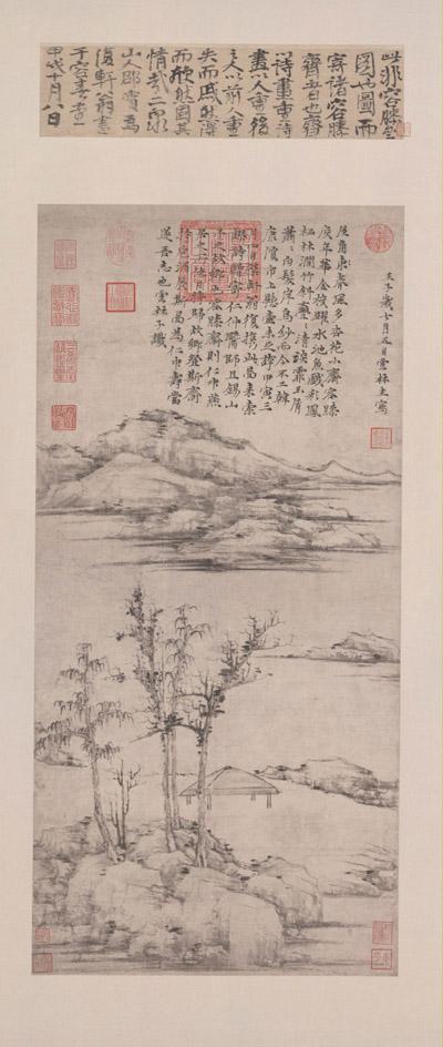 倪瓒《容膝斋图》 纸本水墨画 74.7×35.5cm 台北故宫博物院藏 副本 缩图2