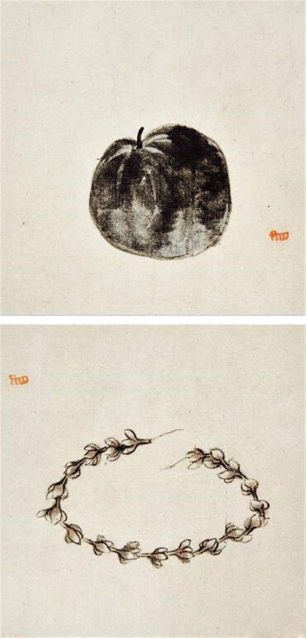 清 八大山人 花果册页之瓜、花环 18.1cm×19.9cm 上海博物馆藏 2