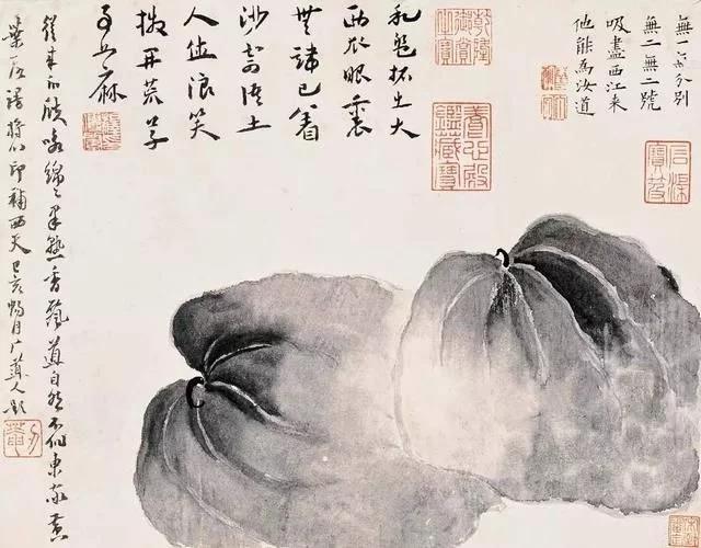 清 八大山人 传綮写生图之西瓜 31.5cm×24.5cm 1659 台北故宫博物院藏 1