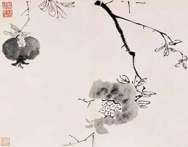 清 八大山人 传綮写生图之石榴 31.5cm×24.5cm 1659 台北故宫博物院藏
