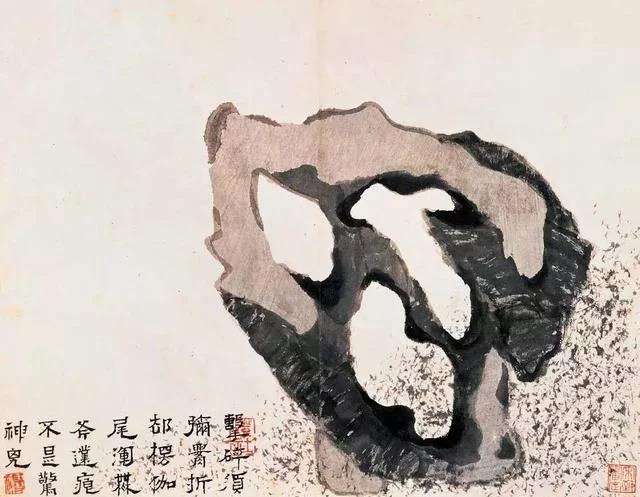 清 八大山人 传綮写生图之玲珑石 31.5cm×24.5cm 1659 台北故宫博物院藏