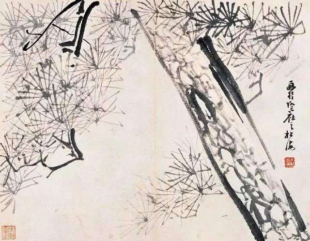 清 八大山人 传綮写生图之古松 31.5cm×24.5cm 1659 台北故宫博物院藏