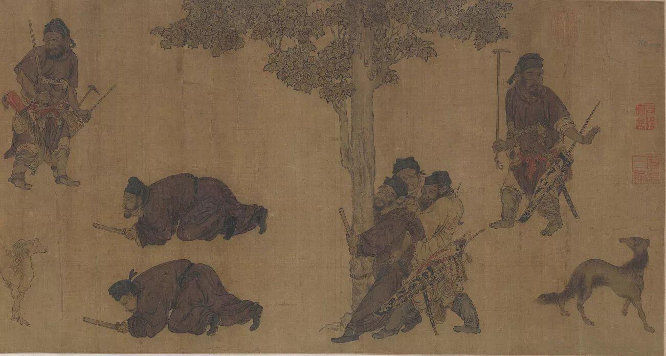 唐 阎立本《陈元达锁谏图》卷(明人摹) 绢本设色 41×373cm 美国弗利尔美术馆藏1