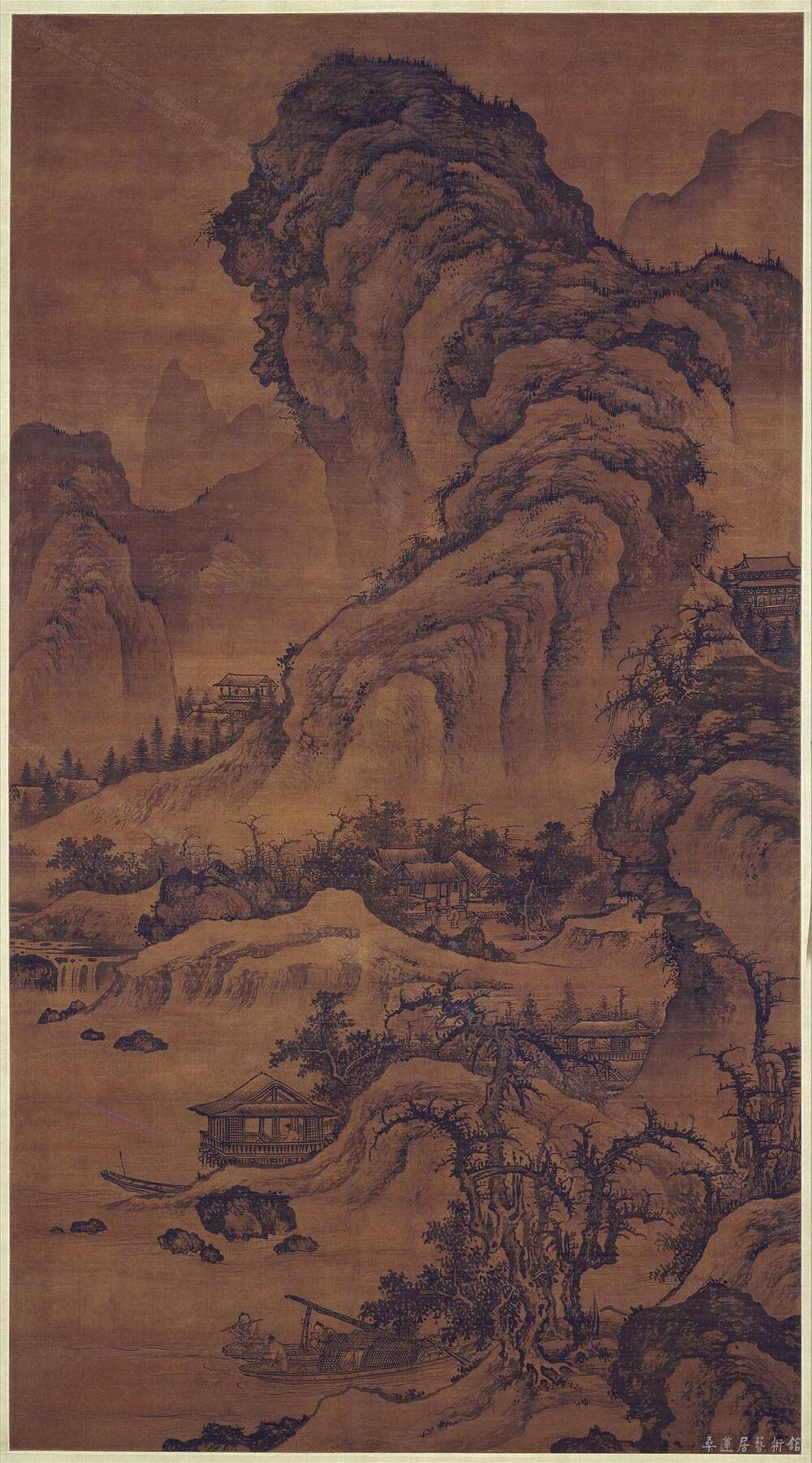 明 李在《阔渚遥峰图》轴 绢本墨笔 165.2×90.4cm 北京故宫博物院藏