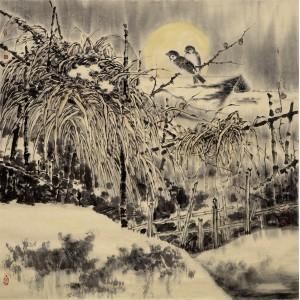 工笔雪景|幽禽图