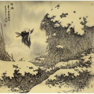 工笔雪景|羊系列