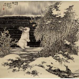 工笔雪景|童年的记忆(兔子)